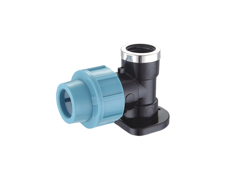 water Irrigation system pp compression elbow with wall plate
